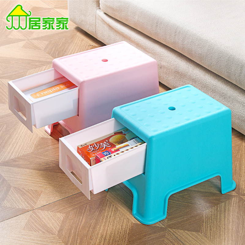 Plastic stool changing his shoes small bench, people can sit stool multifunctional storage stool american retro nostalgia sofa stool storage stool changing his shoes stool circular fashion toy storage box clothing store furni