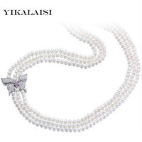 YIKALAISI 2017 100% Natural Freshwater Long Necklace 5 6 mm Real Pearl jewelry For Women Best Gifts