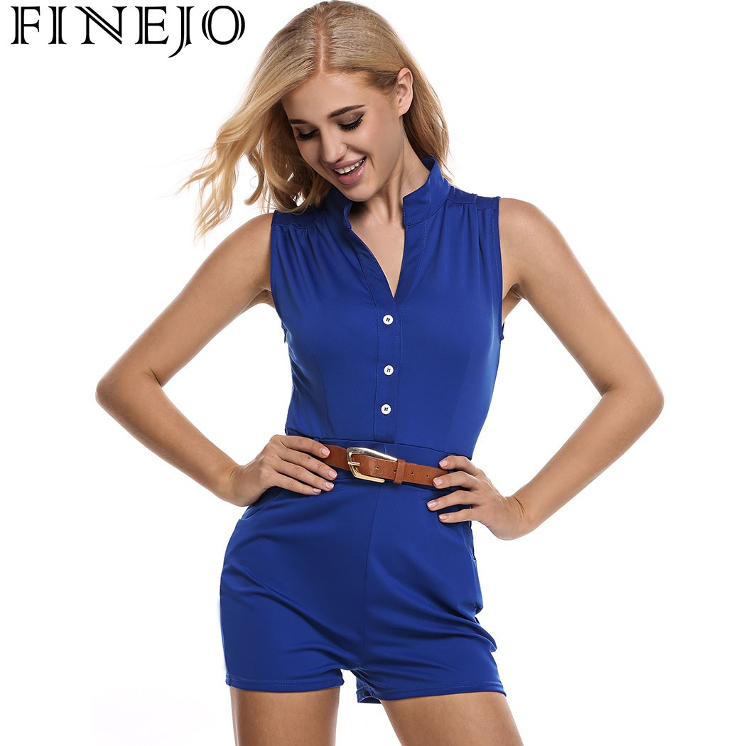 FINEJO Woman Deep V Neck Jumpsuit Rompers Sexy Sleeveless Slim Lady Summer Jumpsuits Casual Straight Type Playsuit With Belt
