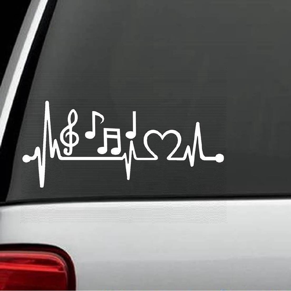 Music Notes Heartbeat Decal Sticker Marching Band Guitar, Bass Treble Clef  15cm