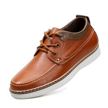 Hidden Heel Shoes For Men Comfortable Korean Men Shoes Classic Men Casual Leather Shoes 4#15/10D50