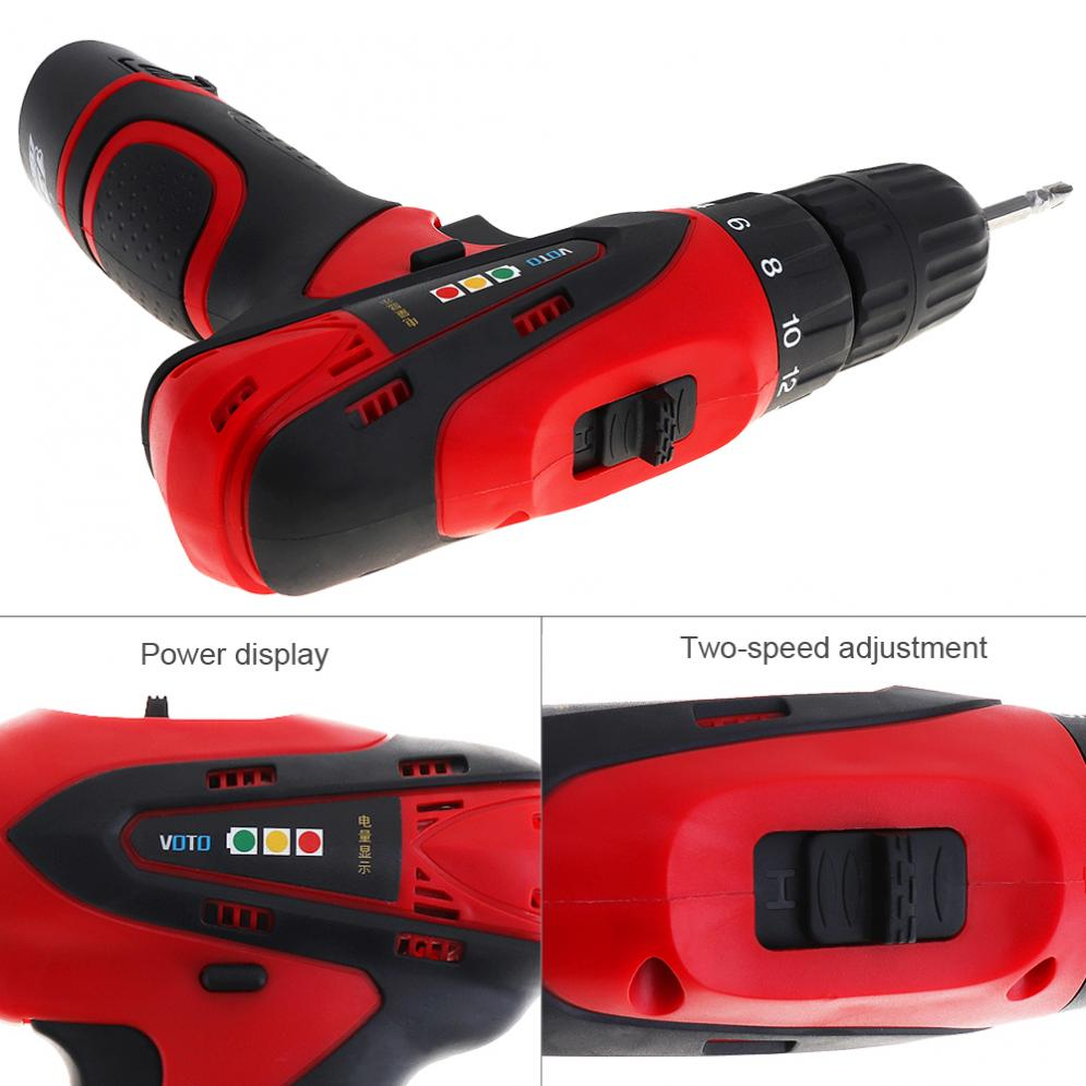 VOTO AC 100 - 240V Cordless 12V Electric Screwdriver with Two-speed Adjustment Button for Handling Screws / Punching