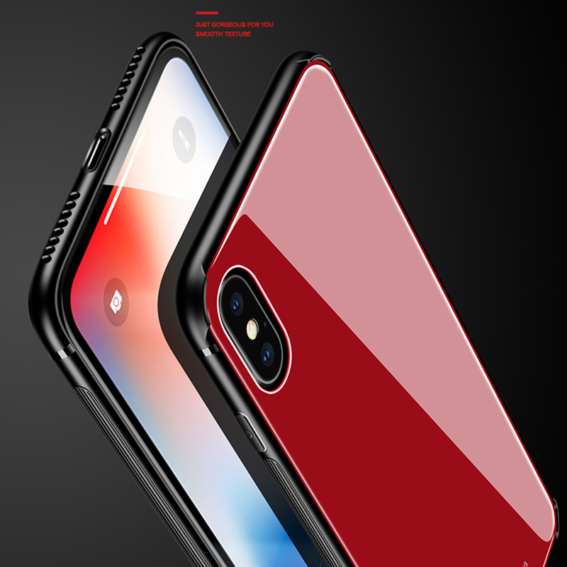MAKAVO Tempered Glass Cover Case for Samsung Galaxy S8 / S8P / Note 8 for iPhone 7 8 Plus X