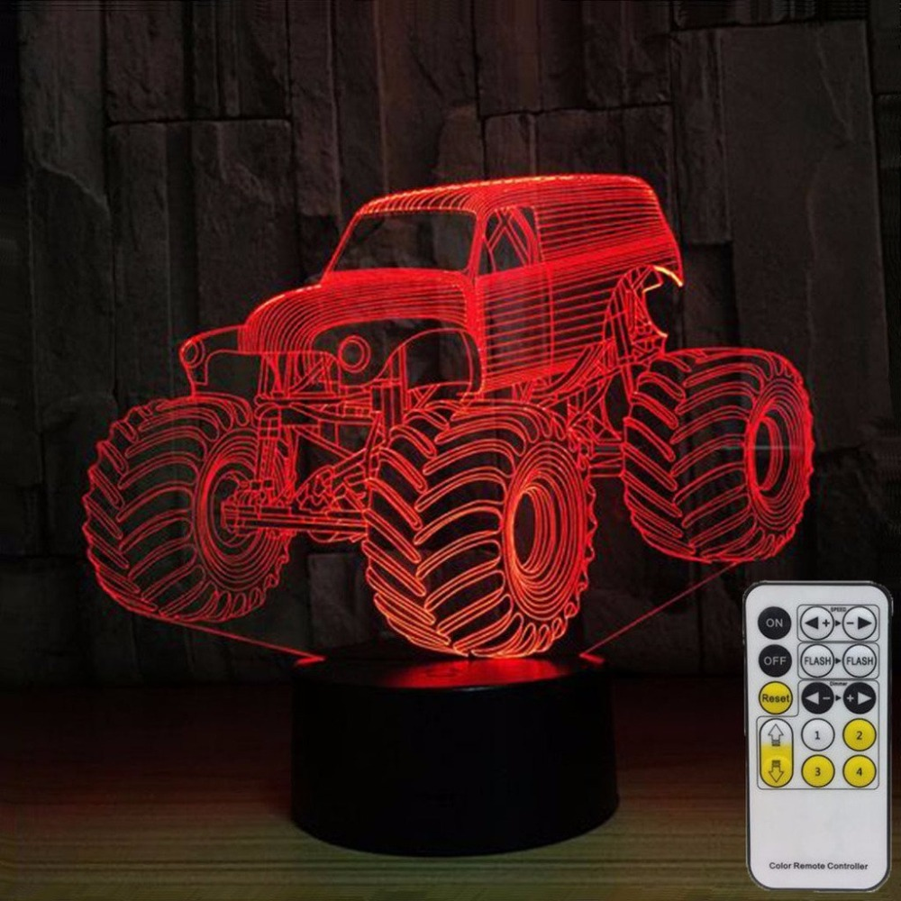 Tractor 3D Night Lights for Kids with Remote Controller LED Touch 7 Colors Changing Desk Lamp As Birthday Gift Home Decor Lamp