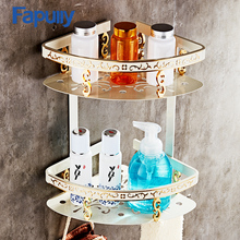 Fapully Aluminum Bathroom Shelf Wall Mounted Basket Handware With Hooks Space Accessories