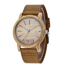 LinTimes унисекс Bamboo циферблат часов нежный пар наручные часы с кожаный ремешок для часов
