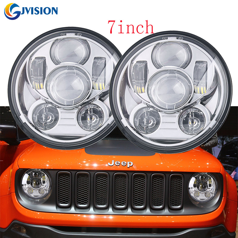 Black/Chrome 45W High/Low Beam headlight 7 inch round Daymaker projector light for Jeep Wrangler JK TJ Offroad 4x4 Lada Niva co light 1 pair led headlight 4x6 45w high low fog lamp for kenworth gmc chevrolet ford jeep lada niva 4x4 offroad 9 32v 3000k