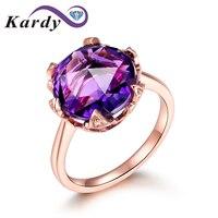Модный натуральный аметистовый драгоченный камень Promise 14 K из розового золота кольцо для помолвки кольцо с бриллиантами для женщин