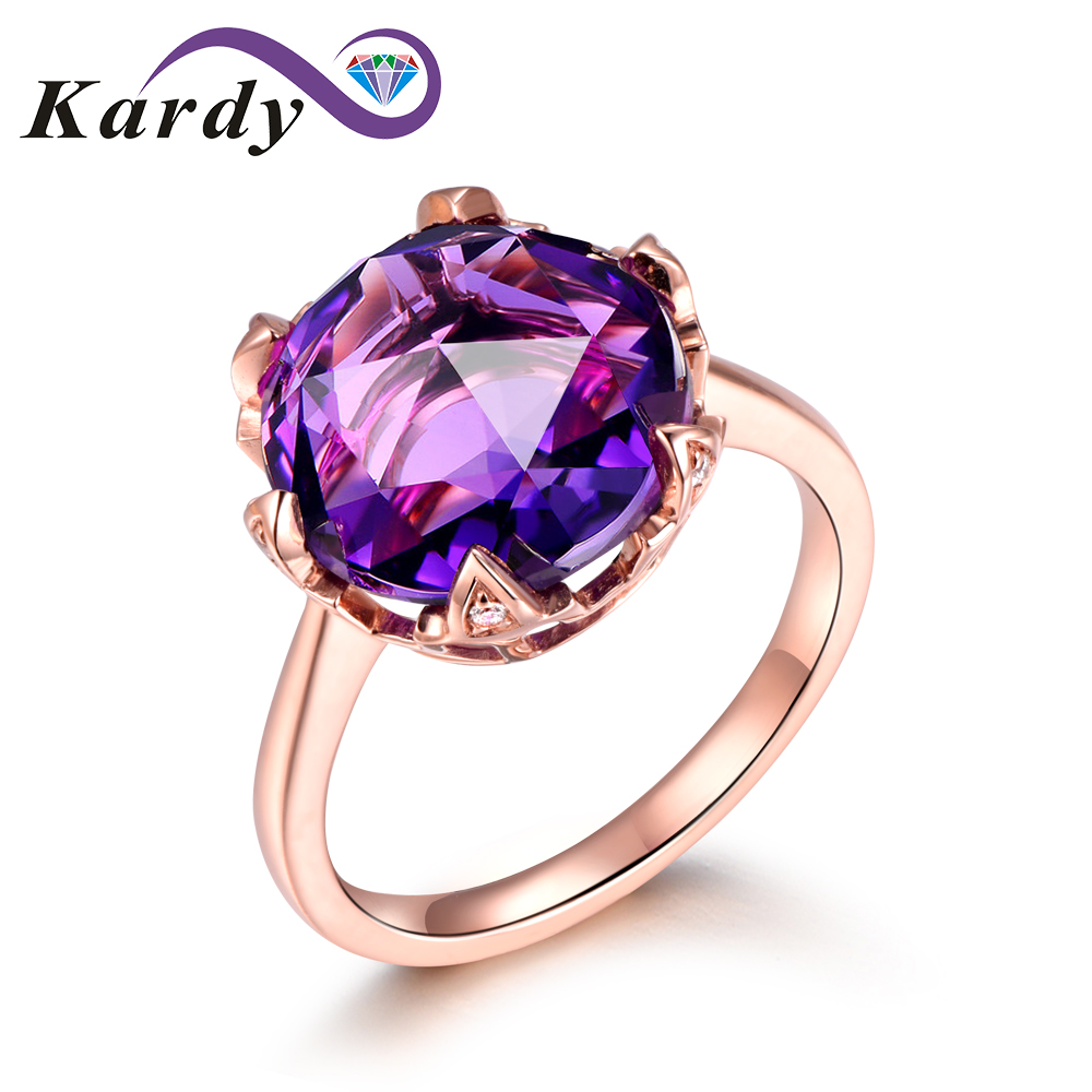 Fashion Trendy Natural Amethyst Gemstone Promise 14K Solid Rose Gold Wedding Engagement Band Diamond Ring for Women