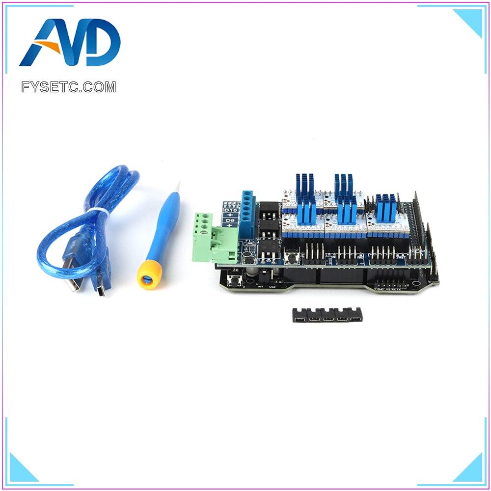 Imprimante 3D pièces RE-ARM carte de contrôle 32 bits mise à niveau Mega 2560 R3 + rampes 1.5 panneau de commande + 5 pcs TMC2130 V1.0 pilote de moteur