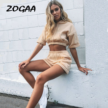 ZOGAA 2019 Women 2 Pieces Set Lady Summer Sweatsuit Hoodies+Shorts Tracksuit Casual Hoodies Top Pants Suit Female