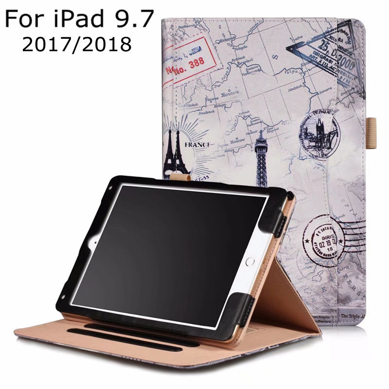 Luxury Smart Case for iPad 9.7 2017 New A1822 Tablet ,iBuyiWin Magnet PU Leather Funda Cover for iPad 9.7 2018 A1893+Free Film