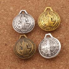 3D Saint Benedict Medal Charms Michael the Protector 8PCS Antique Silver/Bronze/Gold Cross Charm Beads Pendants L1764