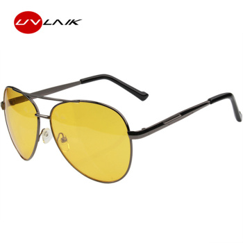 UVLAIK Aviation Night Vision Glasses Men Driving Yellow Lens Sunglasses Classic Anti Glare Vision Driver Safety glasses for Men