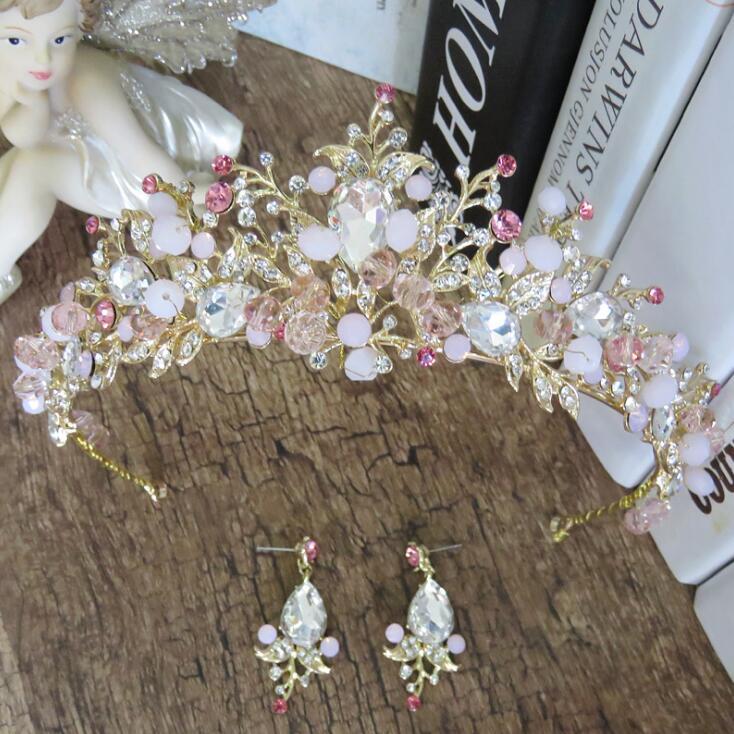 Bräute Haar Schmuck Barock Handgemachte Ohrringe Luxus Rosa Gold Kronen Kristall Tiara Prinzessin Tiaras Hochzeit Haar Zubehör