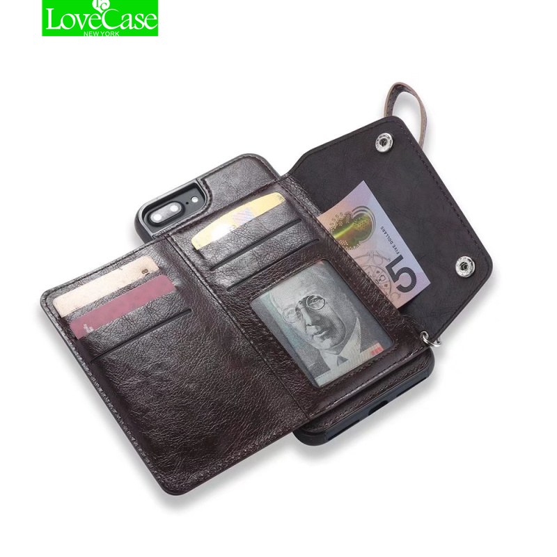 LoveCase Retro PU Custodia In Pelle Per iPhone 6 6 s 7 8 più Slot Per Schede Cover Per iPhone 7 Più 8 Più di Lusso di Protezione Posteriore Fundas