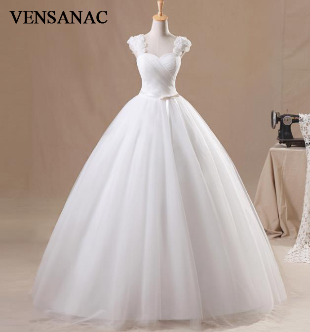 VENSANAC 2018 Jauna līnijas ziedi V kakla spageti siksnas bezpiedurkņu balta satīna līgavas kāzu kleita kāzu kleita 30797
