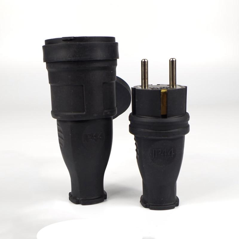 1Pair Eu Waterproof Female Socket 16A Electrical Male Schuko Plug 250V AC Power Adapter  Industrial