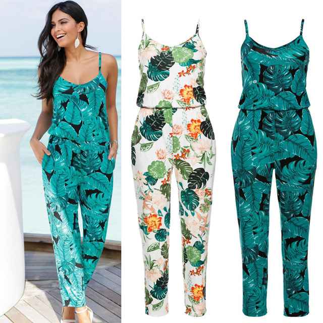 e62671e848 Sexy Sleeveless jumpsuit women long romper 2018 summer lady Fashion floral  trousers beach jumpsuit coveralls sexy female frock