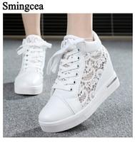 6cm High Fashion Cutouts Lace White Canvas Shoes Hollow Floral Print Breathable Platform Women Casual Mesh