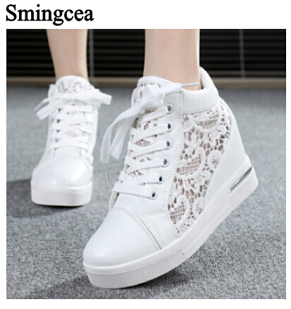 6cm High Fashion cutouts lace white canvas shoes hollow floral print breathable platform women casual mesh shoes zapatos mujer summer women shoes casual cutouts lace canvas shoes hollow floral breathable platform flat shoe sapato feminino lace sandals