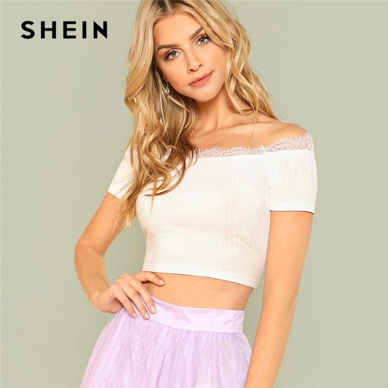 SHEIN White Eyelash Lace Insert Crop Bardot Top Women Off The Shoulder Short Sleeve Plain T-shirt 2018 Summer Sexy Party Tee