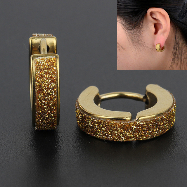 2 Colors Stainless Steel Gold Hoop Earrings Women And Men Jeweley Earring Male