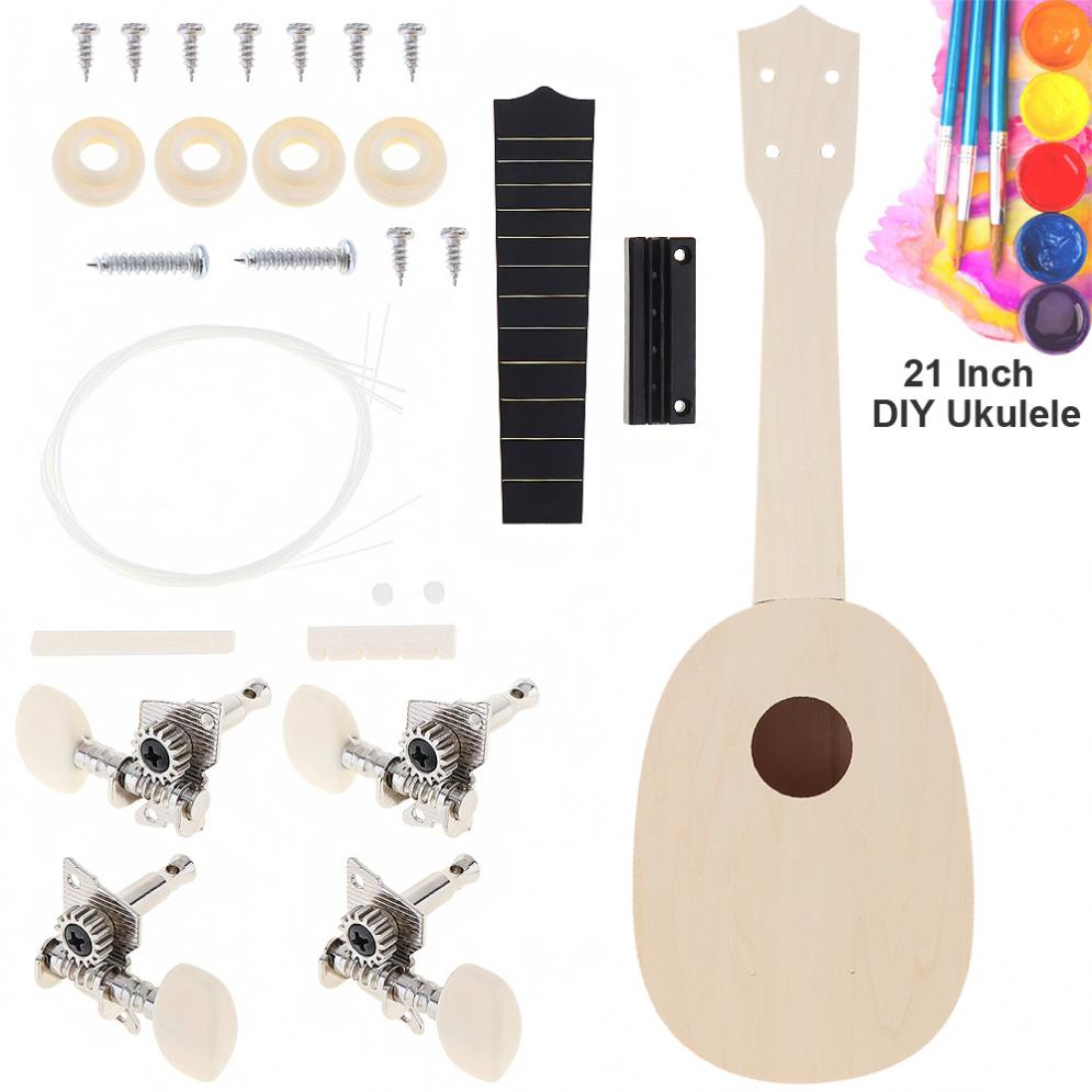 21 Inch Ukulele DIY Kit Pineapple Shape Basswood Hawaii Guitar Perfect Gift For Handwork Painting Parents-child Campaign