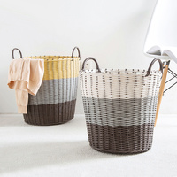 Plastic Woven Hamper Laundry Storage Basket Basket Bathroom Washing Dirty Clothes In The Basket Of Dirty