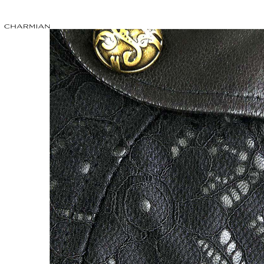 26cc8c81b24 Charmian Women s Steampunk Black Leather Corset Shrug Medieval Victorian  Retro Gothic Floral Lace Bolero Shrug Short Jacket-in Basic Jackets from  Women s ...