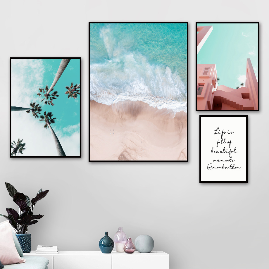 Beach Coconut Tree Succulents Wall Art Canvas Painting Life Quotes Nordic Posters And Prints Wall Pictures For Living Room Decor