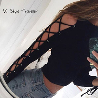 Lace Up Black Blouse Women Sexy Casual Cropped Long Sleeves Cut Out Shirt Pullover Pull Femme