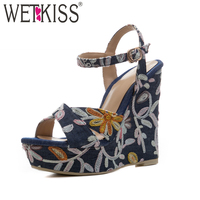 WETKISS New Embroider High Heels Women Sandals 2018 Summer Denim Fashion Platform Ladies Shoes Wedges Open