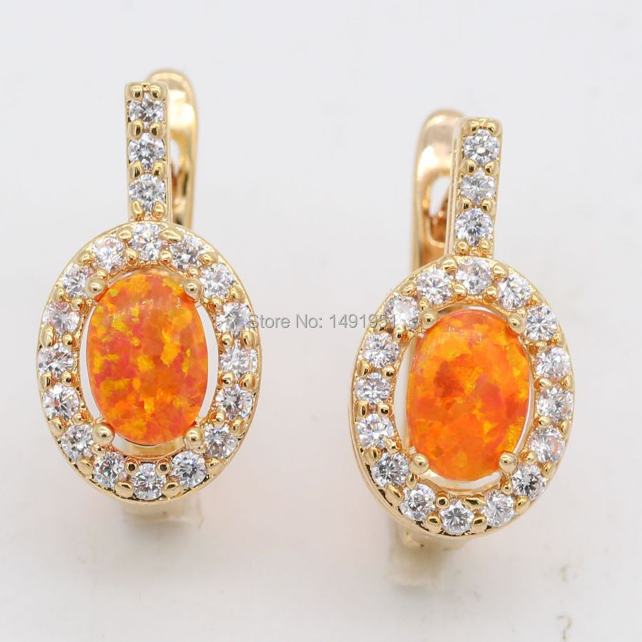 JINYAO Jewelry Nobby Fire Opal AAA Zircon Earrings Champagne Gold Color For Women Anniversary Jewelry 5colors