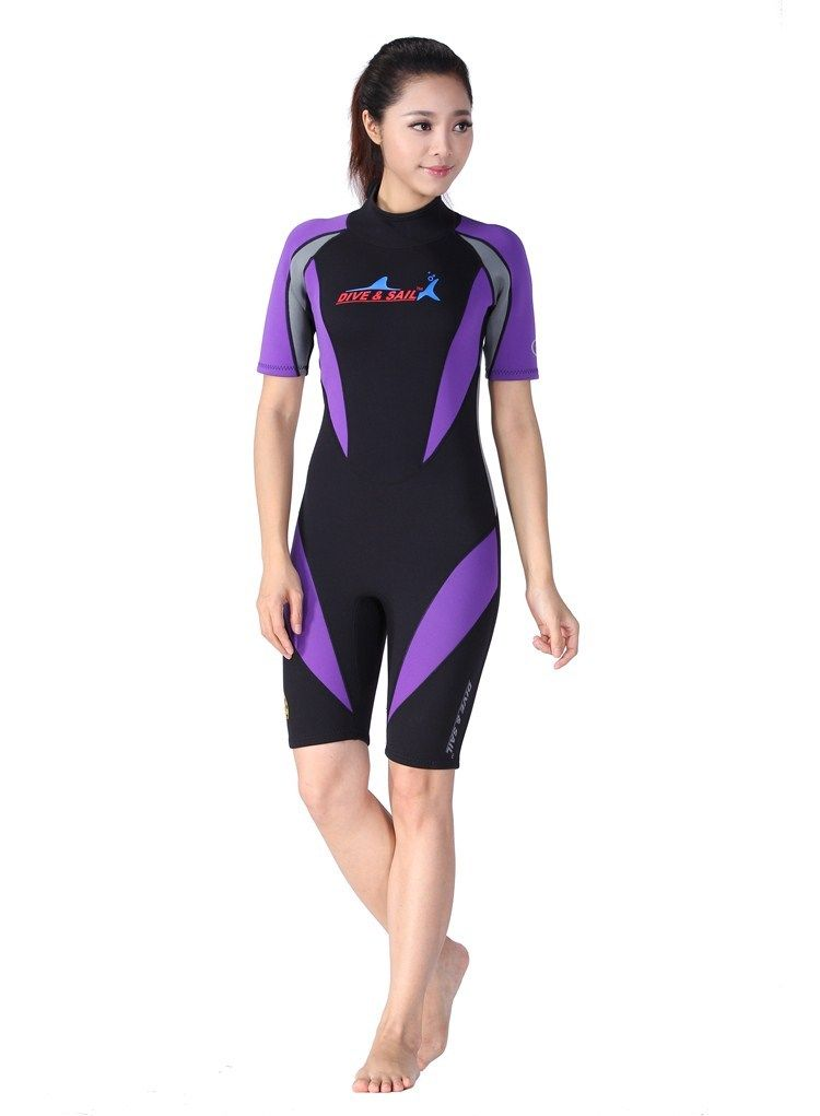 1.5mm Women's Neoprene Snorkeling Shorts Wet Suit Scuba Diving Jump Suit Free Shipping