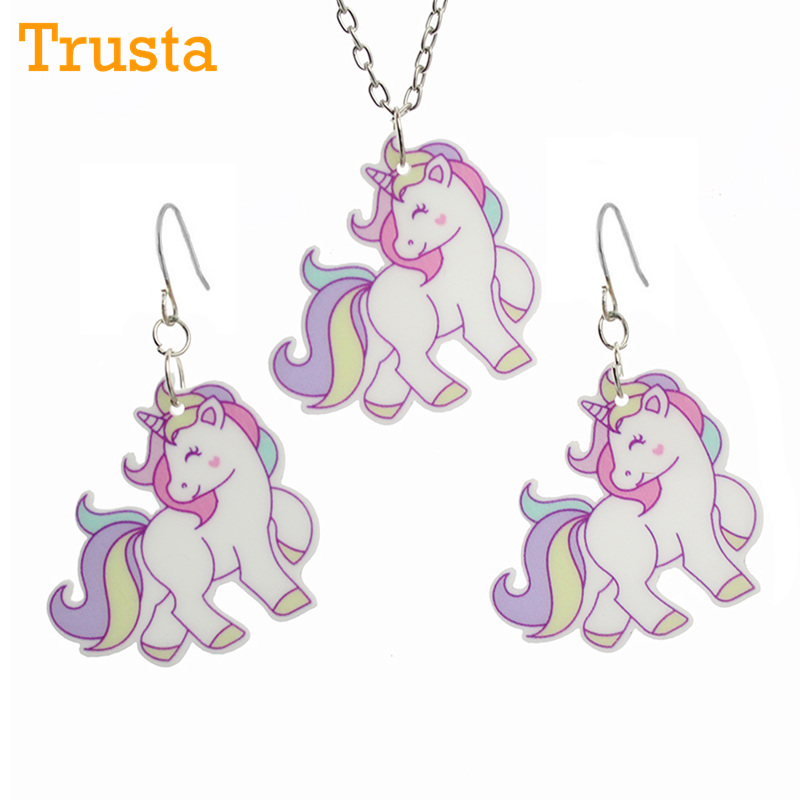 Trusta 2017 Fashion Girls Kids Gift Jewelry Little Unicorn Earring Pendant 16