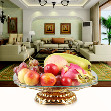 European style double layer three grape vine fruit tray fashion home KTV cake salad glass fruit plate