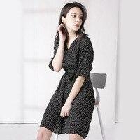 2019 Summer New Wave Point Silk Dress Female V Collar Belt 100 Mulberry Silk A Dress V Neck Black Dot Dress Women