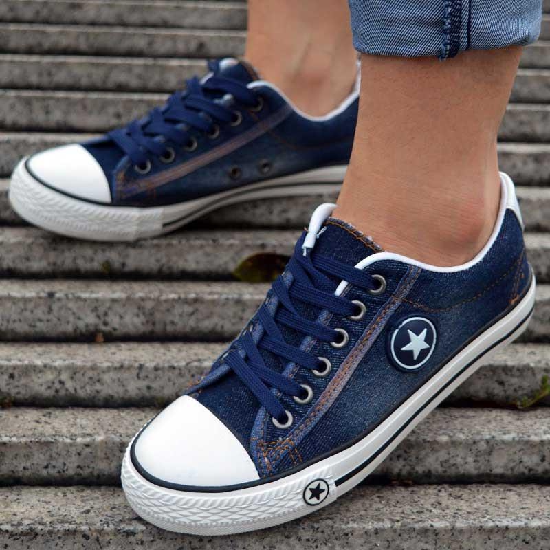 Vulcaniser Chaussures Femmes Toile Sneakers Plat Denim Chaussures Femme Formateurs Panier Femme Dames Casual Sneakers Bleu Zapatos Mujer