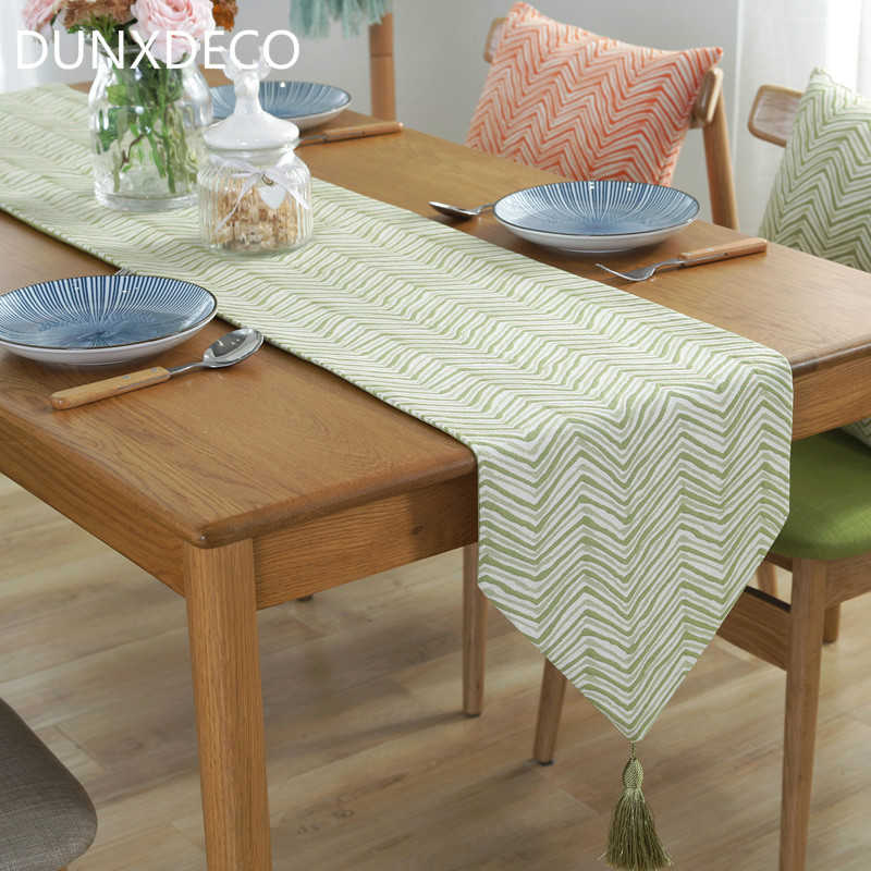 DUNXDECO Table Runner Blend Jacquard Long Table Cover Fabric Simple Style Modern Geometric Wave Home Party Decoration