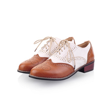 Lucyever Leisure round toe handmade leather shoes woman vintage patchwork carved oxford shoes for women plus size 34-43