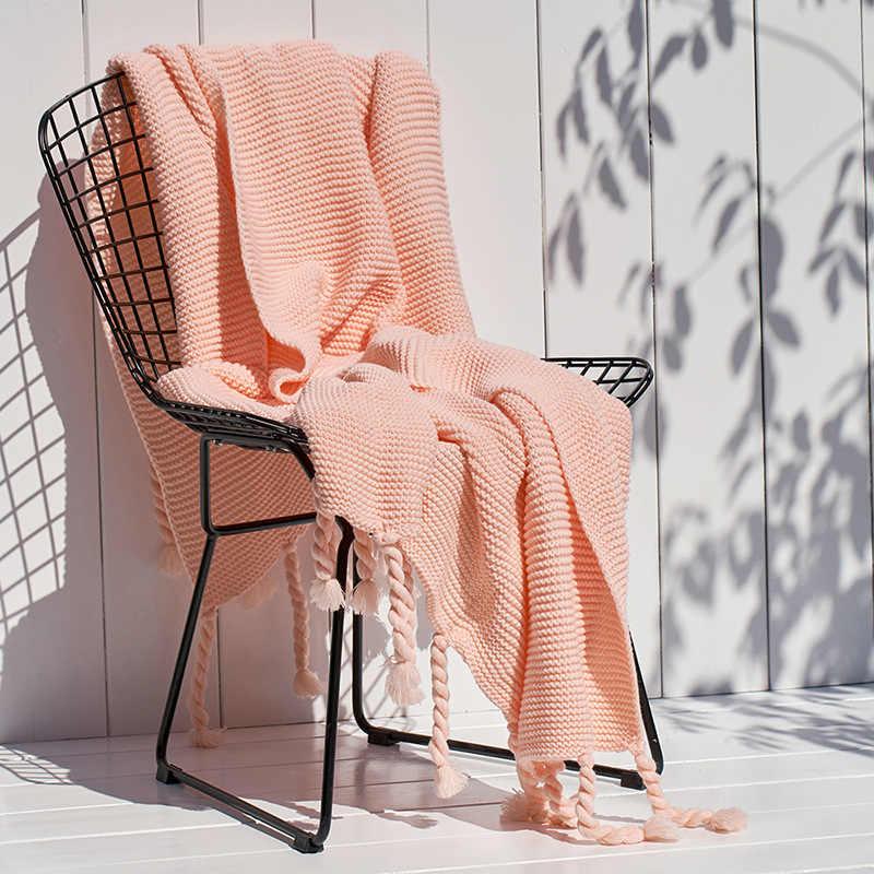 Флисовый плед в Северной Европе однотонное одеяло ковер на диван вязаное одеяло шаль с кисточкой