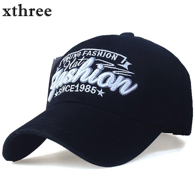 Prix pour XTHREE mode Lettre broderie hommes de coton Casquette de baseball femmes snapback chapeau Casual casquettes Chapeau D'été pour les hommes cap