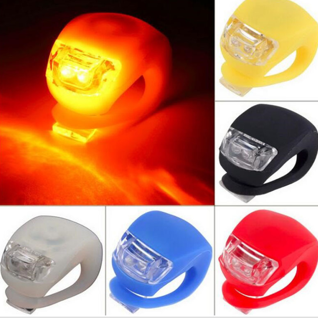 Silicone Bicycle Bike Head Front Rear Wheel LED Light Flash Safety Lamps Cycling Light Bicycle Accessories
