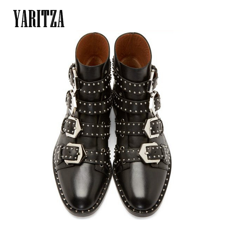 ФОТО YARITZA 2017 New Genuine leather Motorcycle boots Biker Shoes Women Pointed Snow Boots Brand Shoe Famous Designer Woman Flats