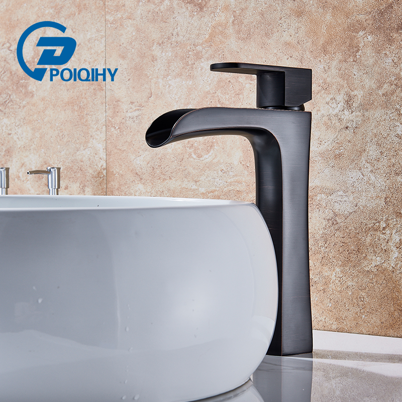 POIQIHY Oil Rubbed Bronze Deck Mounted Bathroom Waterfall Faucet Single Lever with Hot and Cold Pipe Basin Vanity Sink Mixer Tap widespread hot cold water deck mounted oil rubbed bronze red sink bathroom vanity mixer tap faucet