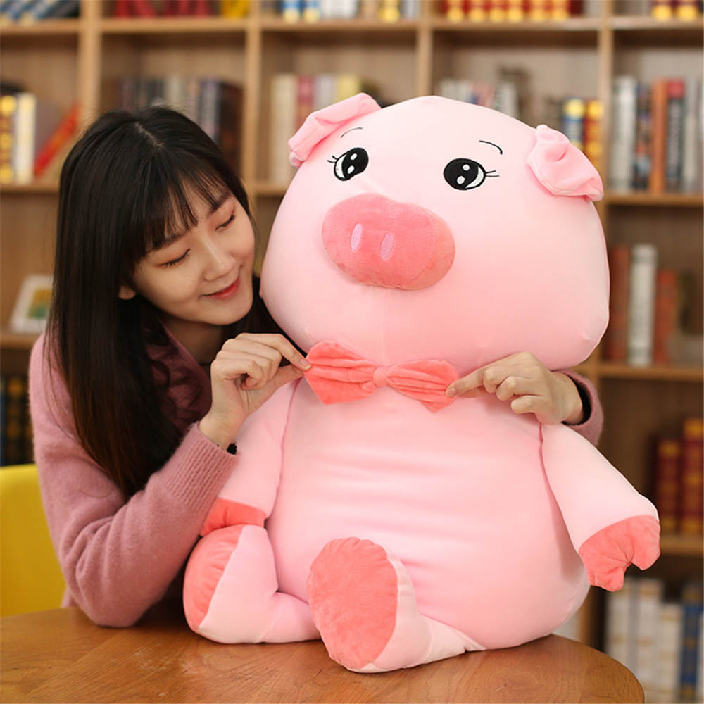 Fancytrader Cuddly Soft Anime Piggy Stuffed Toy Big Stuffed Cartoon Pig Doll Animals Pillow for Kids Adults Gift 80cm 100cm fancytrader giant 80cm cartoon pig doll gift lovely stuffed soft plush giant mcdull pigs toy 3 colors