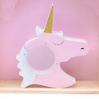 Cute Unicorn Piggy Bank Pot Wooden Toys Model Creative Baby Kids Room Furnish Articles INS Child