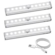 JXSFLYE Motion Sensing Closet Lights, USB Rechargeable Led, 10 LED Wireless Night Light for Cabinet, Closet, Wardrobe (3PACKS)