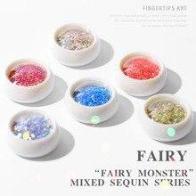 6 Mixed Colors Glitter Nail Sequins Paillette Dust Tips Set Shiny Dazzling Mirror Effect Powder Manicure Nail Art Decoration цена